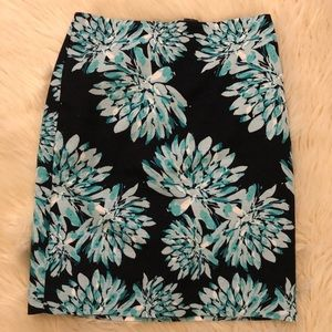 Ann Taylor Blue Flower Pencil Skirt